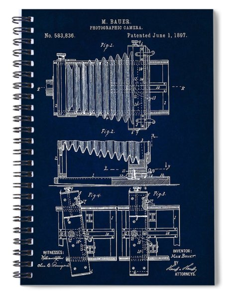 1897 Camera Us Patent Invention Drawing - Dark Blue Spiral Notebook