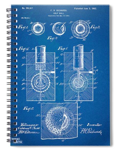 1902 Golf Ball Patent Artwork - Blueprint Spiral Notebook