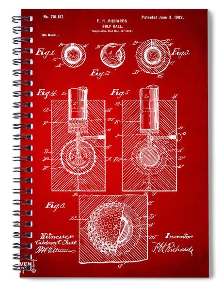 1902 Golf Ball Patent Artwork Red Spiral Notebook