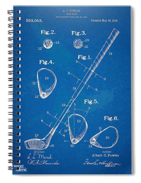 1910 Golf Club Patent Artwork Spiral Notebook