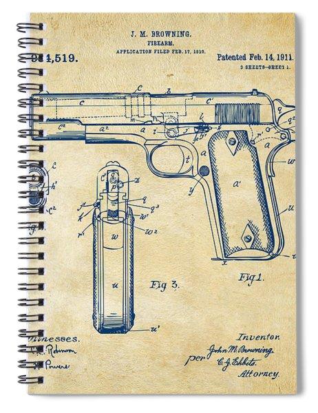 1911 Colt 45 Browning Firearm Patent Artwork Vintage Spiral Notebook