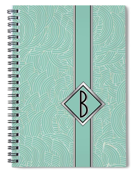1920s Blue Deco Jazz Swing Monogram ...letter B Spiral Notebook
