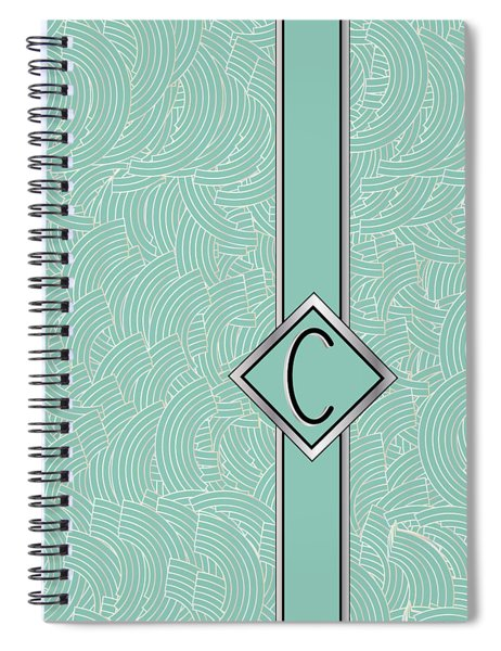 1920s Blue Deco Jazz Swing Monogram ...letter C Spiral Notebook