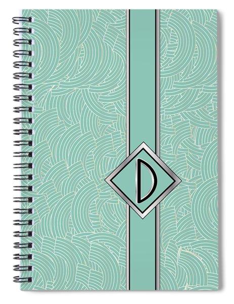 1920s Blue Deco Jazz Swing Monogram ...letter D Spiral Notebook