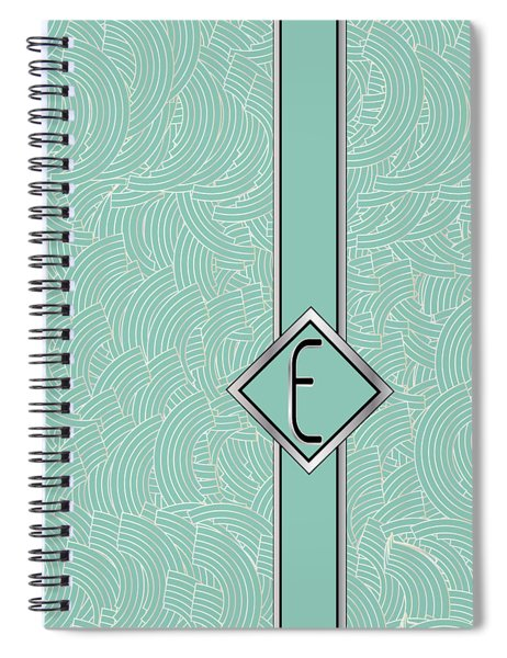 1920s Blue Deco Jazz Swing Monogram ...letter E Spiral Notebook