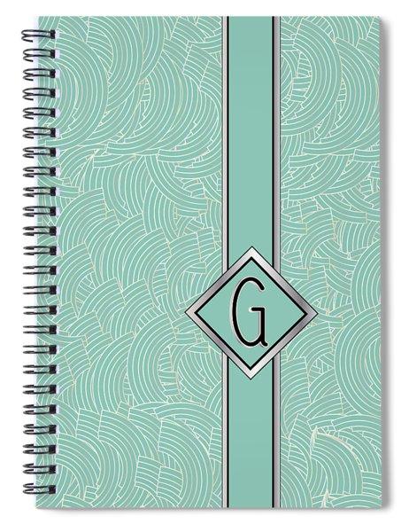 1920s Blue Deco Jazz Swing Monogram ...letter G Spiral Notebook