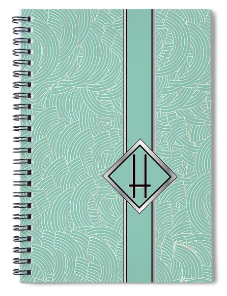 1920s Blue Deco Jazz Swing Monogram ...letter H Spiral Notebook