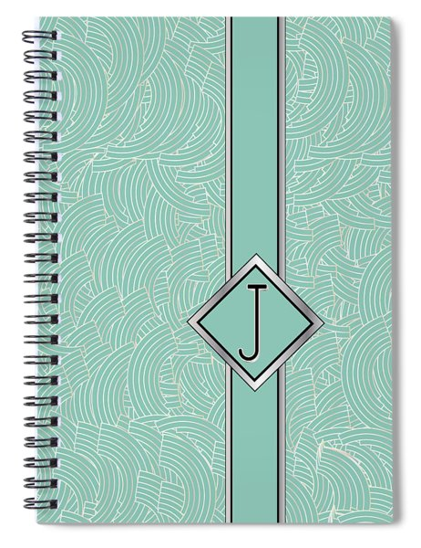1920s Blue Deco Jazz Swing Monogram ...letter J Spiral Notebook