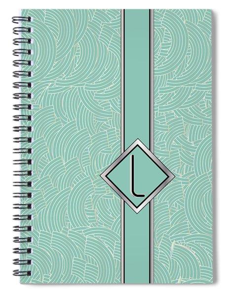 1920s Blue Deco Jazz Swing Monogram ...letter L Spiral Notebook