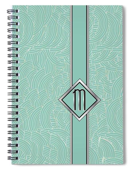 1920s Blue Deco Jazz Swing Monogram ...letter M Spiral Notebook