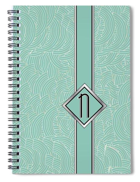 1920s Blue Deco Jazz Swing Monogram ...letter N Spiral Notebook