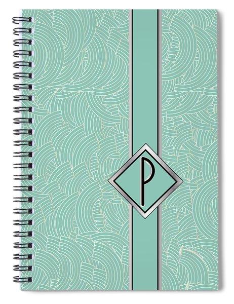 1920s Blue Deco Jazz Swing Monogram ...letter P Spiral Notebook