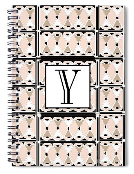 1920s Pink Champagne Deco  Monogram  Y Spiral Notebook