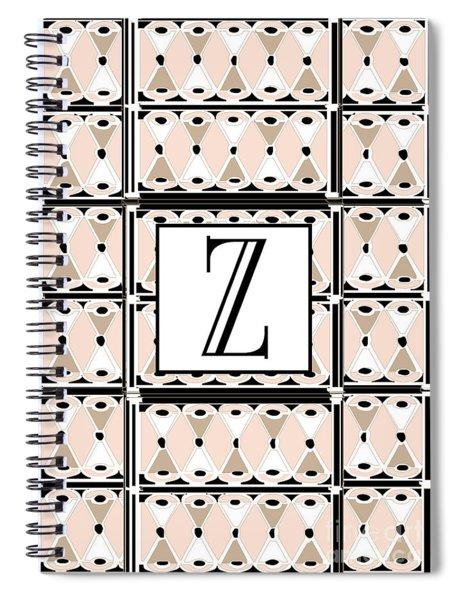 1920s Pink Champagne Deco Monogram  Z Spiral Notebook