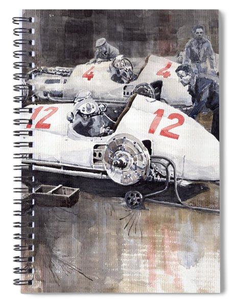 1938 Italian Gp Mercedes Benz Team Preparation In The Paddock Spiral Notebook