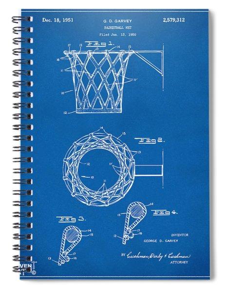 1951 Basketball Net Patent Artwork - Blueprint Spiral Notebook