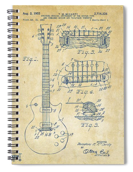 1955 Mccarty Gibson Les Paul Guitar Patent Artwork Vintage Spiral Notebook