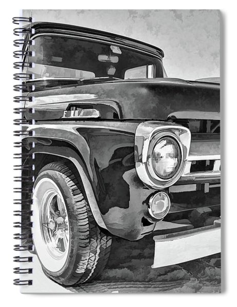 1957 Ford F100 In Black And White Spiral Notebook