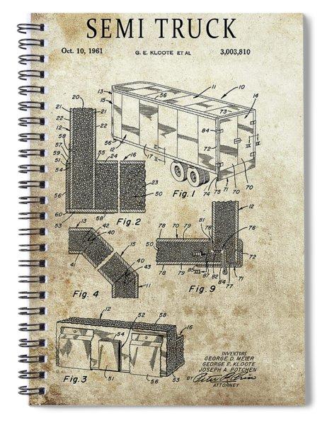 1961 Semi Truck Patent Spiral Notebook