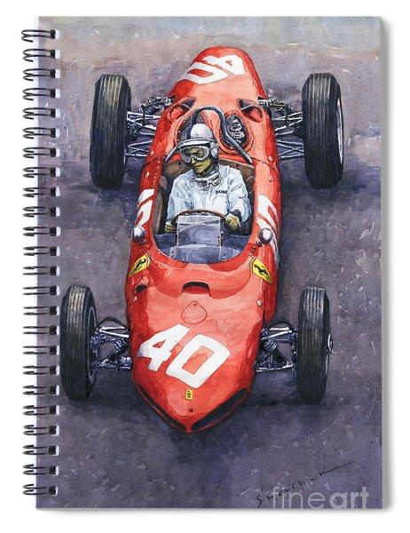 1962 Monaco Gp Willy Mairesse Ferrari 156 Sharknose Spiral Notebook
