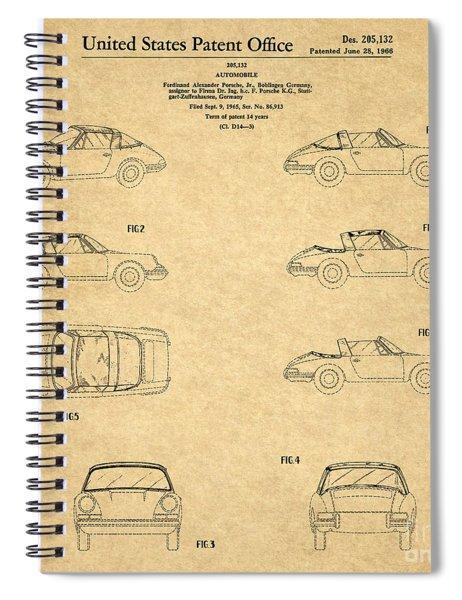 1966 Porsche Car Patent 1 Spiral Notebook