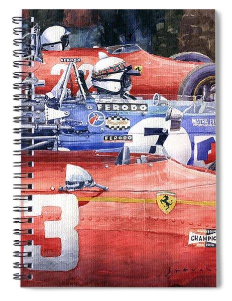 1968 Belgie Gp Spa Ickx Amon Ferrari 312 Stewart Matra Cosworth M15 Spiral Notebook