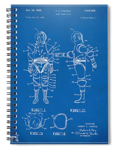 1968 Hard Space Suit Patent Artwork - Blueprint Spiral Notebook