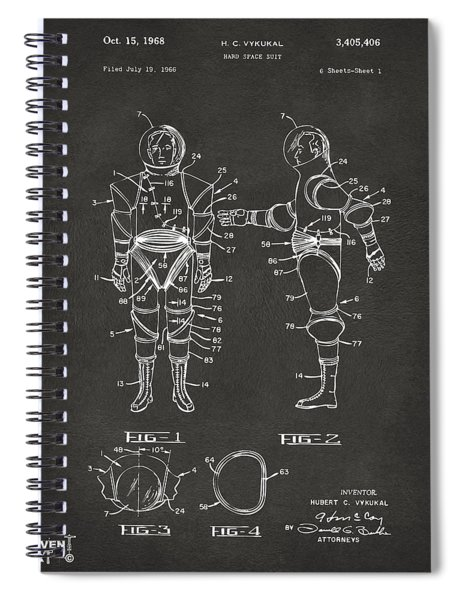 1968 Hard Space Suit Patent Artwork - Gray Spiral Notebook