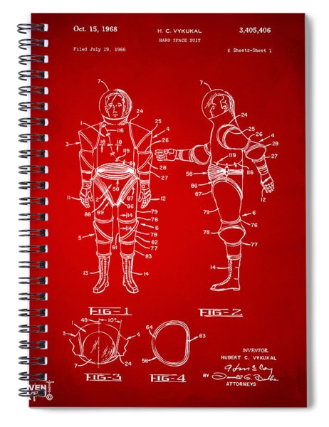 1968 Hard Space Suit Patent Artwork - Red Spiral Notebook