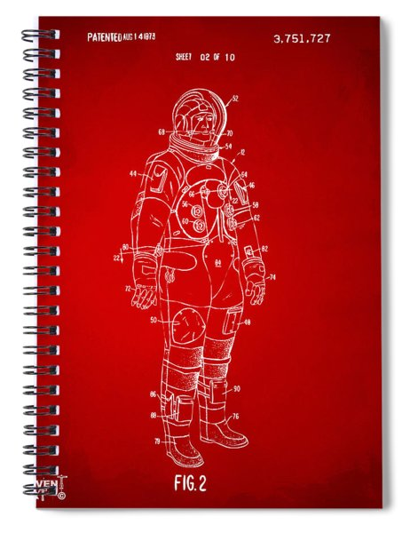 1973 Astronaut Space Suit Patent Artwork - Red Spiral Notebook