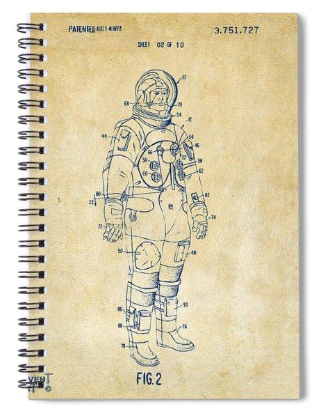 1973 Astronaut Space Suit Patent Artwork - Vintage Spiral Notebook