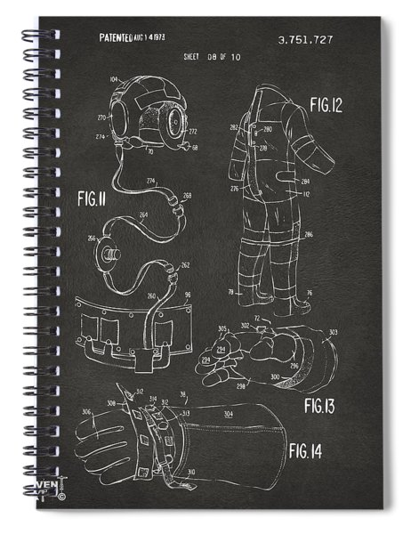 1973 Space Suit Elements Patent Artwork - Gray Spiral Notebook