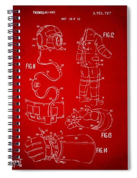 1973 Space Suit Elements Patent Artwork - Red Spiral Notebook