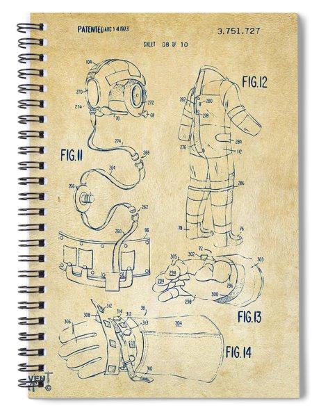1973 Space Suit Elements Patent Artwork - Vintage Spiral Notebook