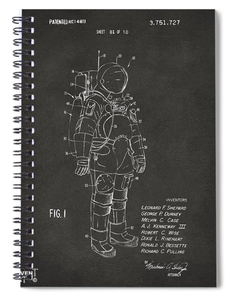 1973 Space Suit Patent Inventors Artwork - Gray Spiral Notebook
