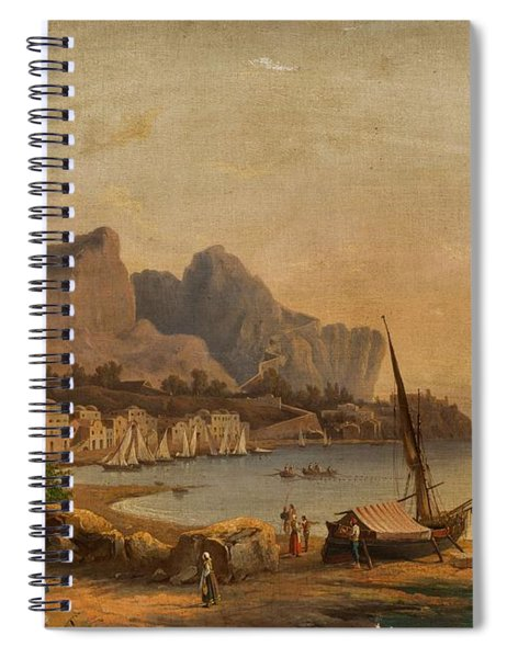 19th Century Continental School Fishermen At The Bay Spiral Notebook