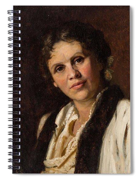 19th Century Russian Artist, Circle Of Isaak Levitan 1860-1900 Portrait Of Sofia Kuvshinnikova, 18 Spiral Notebook
