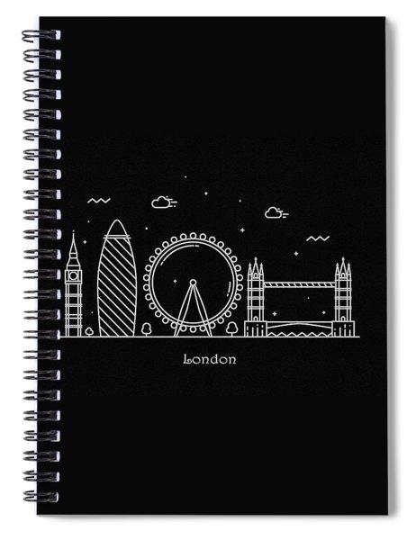 London Skyline Travel Poster Spiral Notebook