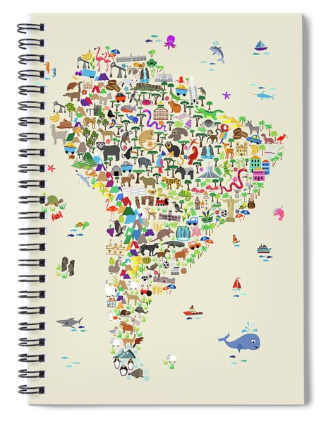 Animal Map Of South America For Children And Kids Spiral Notebook