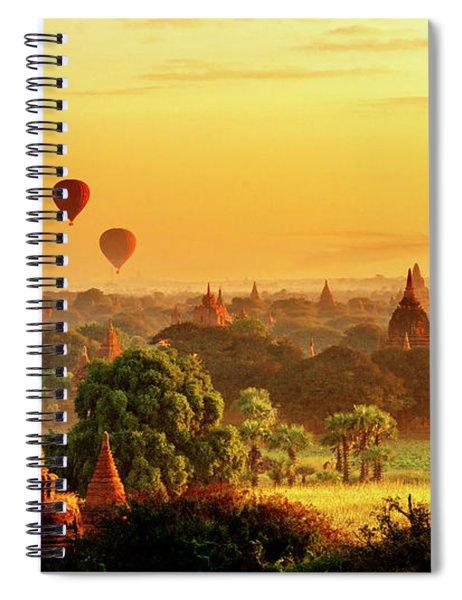 Bagan Pagodas And Hot Air Balloon Spiral Notebook by Pradeep Raja PRINTS