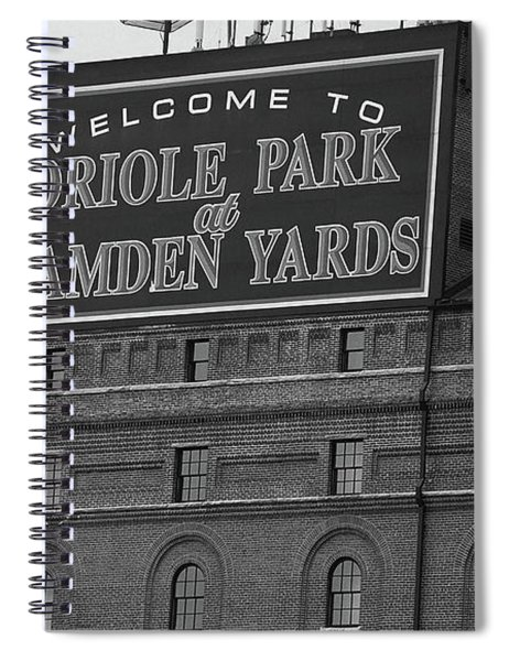 Baltimore Orioles Park At Camden Yards Bw Spiral Notebook