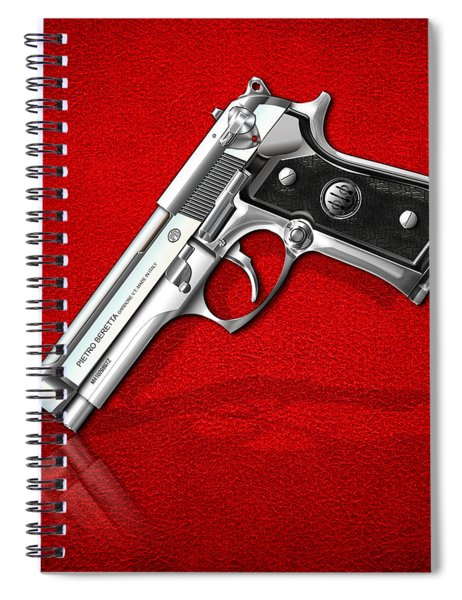 Beretta 92fs Inox Over Red Leather  Spiral Notebook