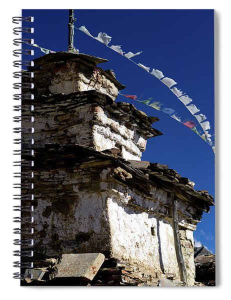 Buddhist Gompa And Prayer Flags In The Himalaya Range, Annapurna Region, Nepal Spiral Notebook