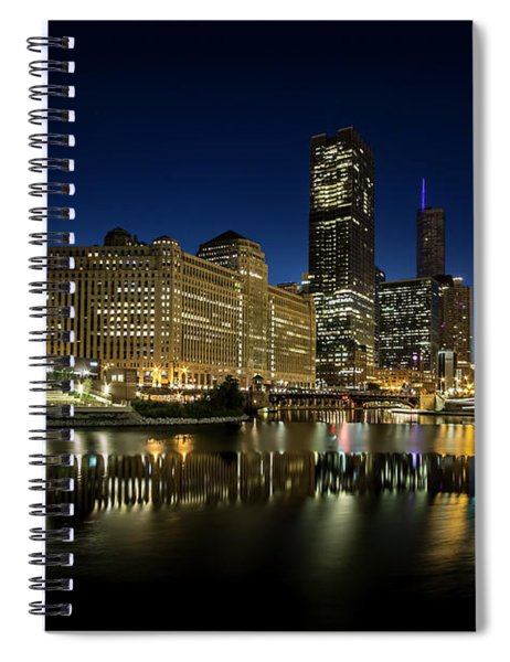 Chicago River And Skyline At Dawn Spiral Notebook