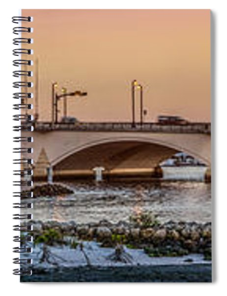 Flagler Bridge In Lights Panorama Spiral Notebook
