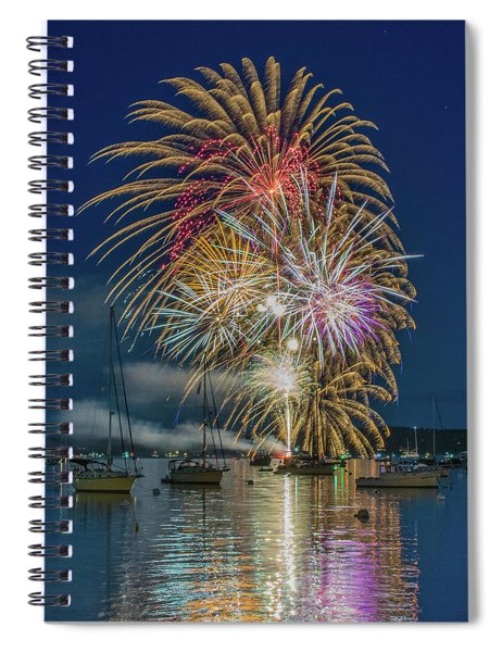 Independence Day Fireworks In Boothbay Harbor Spiral Notebook