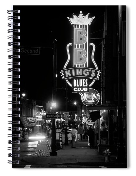 Neon Sign Lit Up At Night, B. B. Kings Spiral Notebook