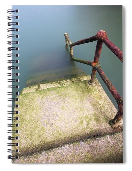 Rusty Handrail Going Down On Water Spiral Notebook