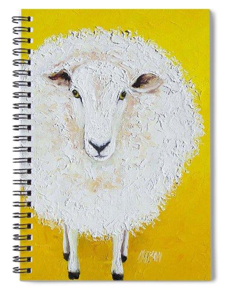 Sheep Painting On Yellow Background Spiral Notebook