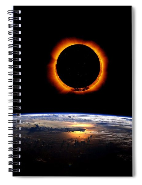 Solar Eclipse From Above The Earth Spiral Notebook